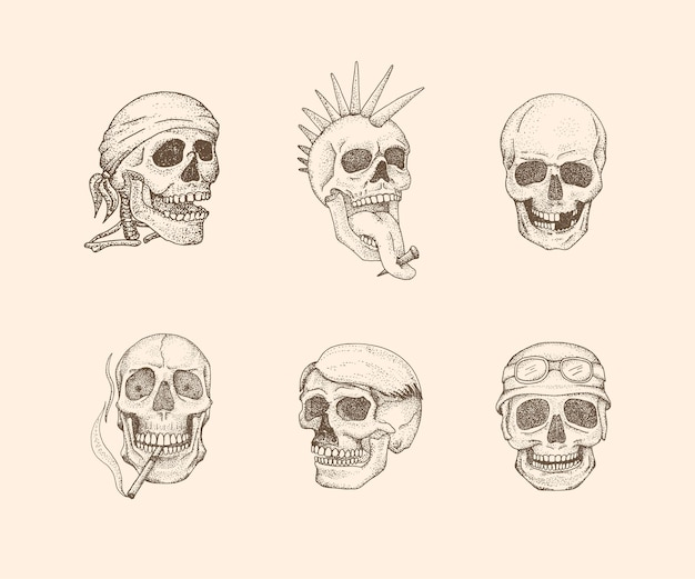 Ilustração vintage de crânio com estilo desenhado à mão.