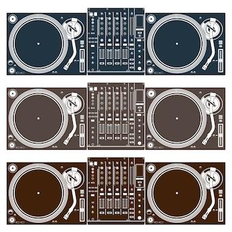 Ilustração vintage de dj mistura turntable set vector
