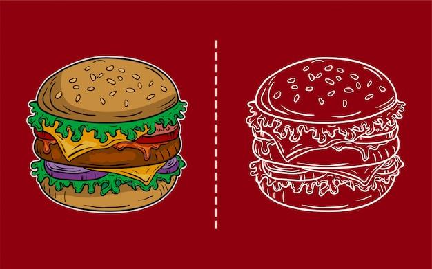 Ilustração vintage de hambúrguer, editável e detalhada