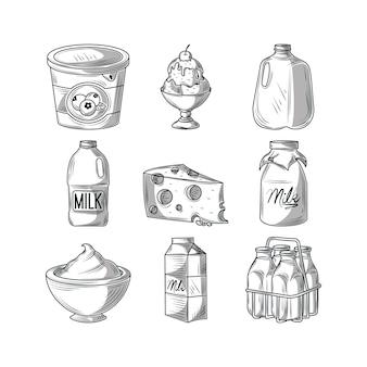 Ilustração vintage de produtos lácteos