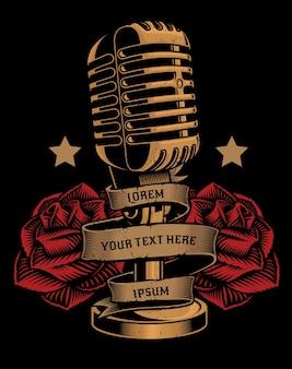 Ilustração vintage de um microfone com rosas e uma fita no fundo escuro. todos os elementos e textos estão em grupos separados.
