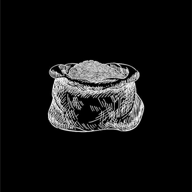 Ilustração vintage de um saco de grãos de café