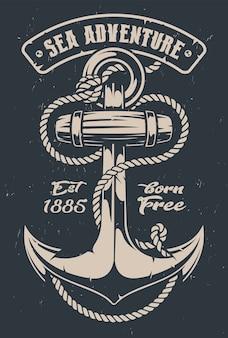 Ilustração vintage de uma âncora com corda em fundo escuro. todos os elementos e textos estão em grupos separados.