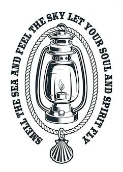 Ilustração vintage de uma lâmpada de querosene com corda e conchas.
