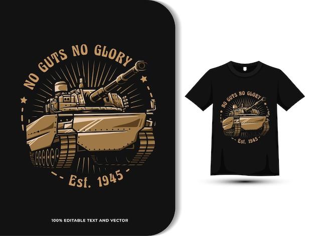Ilustração vintage do tanque militar no design da camiseta