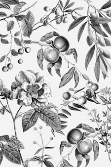 Ilustração vintage elegante com padrão floral rosa e frutas preto e branco