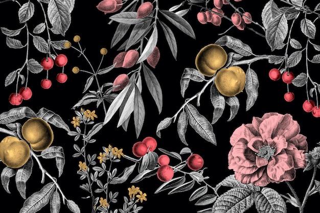Ilustração vintage elegante padrão floral rosa frutas rosa