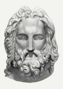 Ilustração vintage em vetor cabeça barbada, remixada da obra de arte de john flaxman