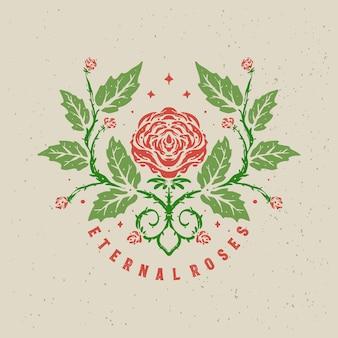 Ilustração vintage eternal roses desenhado à mão