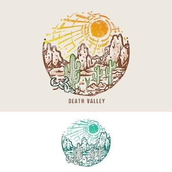 Ilustração vintage monoline do deserto do vale da morte