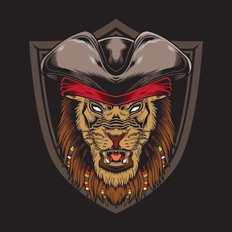 Ilustração vintage piratas leão