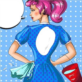Ilustração vintage pop art de mulher da limpeza