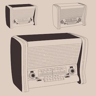 Ilustração vintage radiogramophone, estilo retro gravado, desenhado à mão, esboço