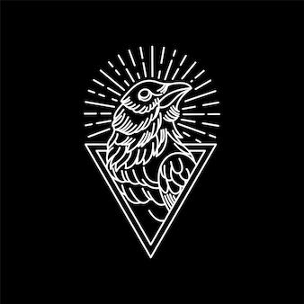 Ilustração vintage raven triangle monoline