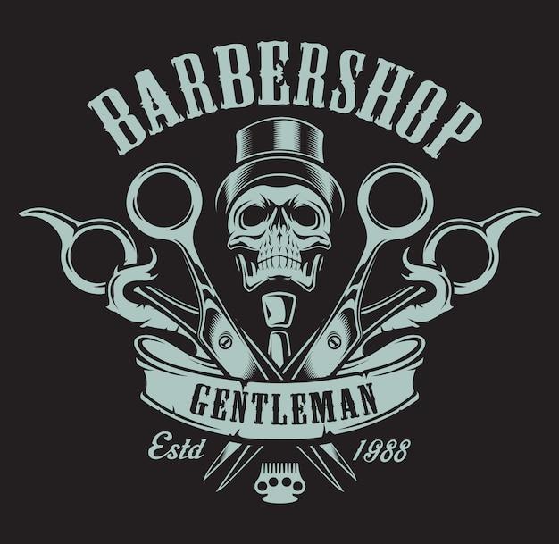 Ilustração vintage sobre o tema da barbearia com uma caveira sobre um fundo escuro. todos os elementos e textos estão em um grupo separado.