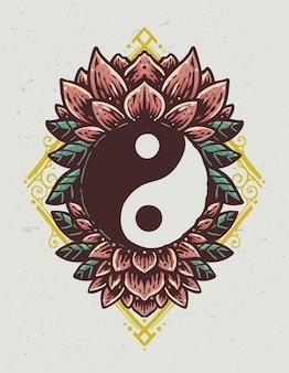Ilustração vintage yin yang lotus desenhada à mão
