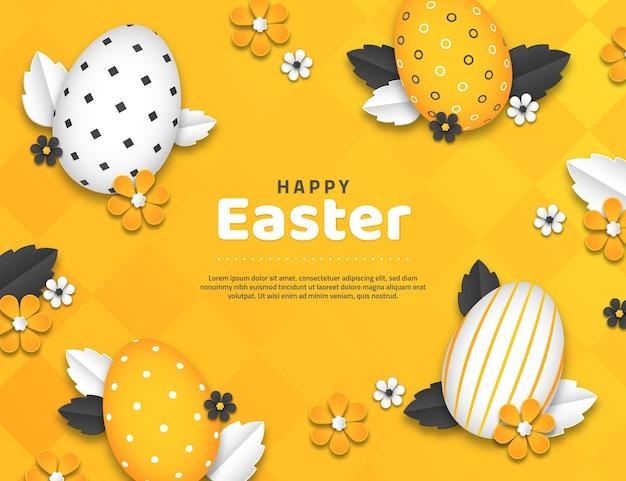 Ilustração vívida de páscoa monocromática em estilo de papel com ovos
