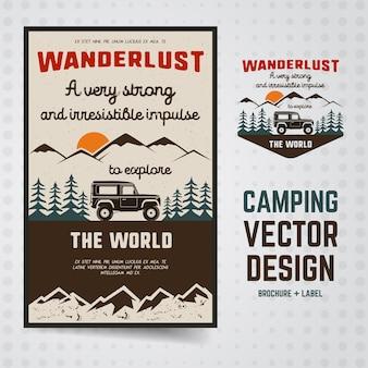 Ilustração wanderlust camping