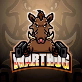 Ilustração warthog gunner mascote esport