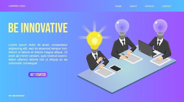 Ilustração web isométrica, reunião do homem da lâmpada e ideia encontrada, pessoa inovadora