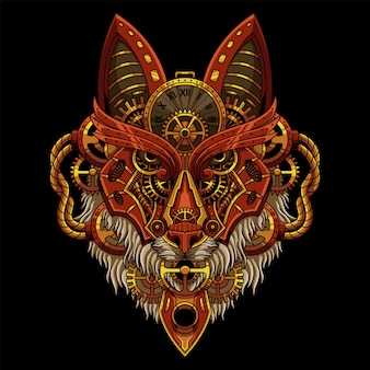 Ilustração wolf steampunk