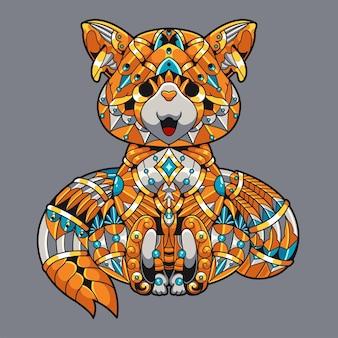 Ilustração zentangle de raposa