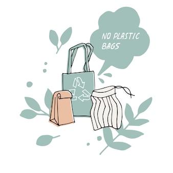 Ilustração zero desperdício, não reciclar, nenhum saco de plástico. citação de proteção ambiental