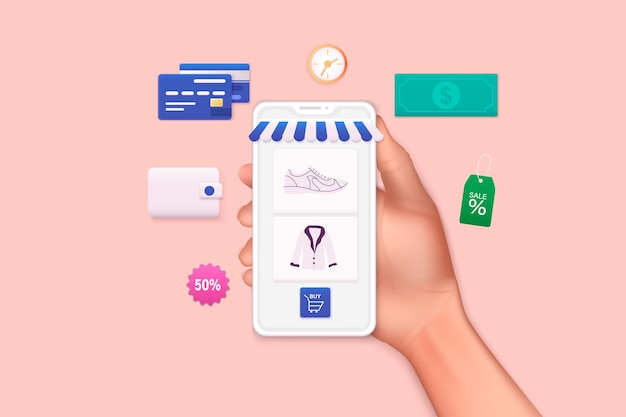 Ilustrações 3d da web. mão segurando o telefone móvel inteligente com app shopp. conceito de compras online.