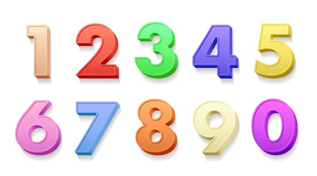 Ilustrações 3d de números de aniversário com dígitos realistas multicoloridos de um a zero pacote de sinais festivos