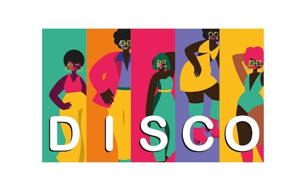 Ilustrações abstratas de personagens de pessoas disco dos anos 70, disco party dos anos 70 e 80