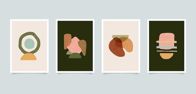 Ilustrações abstratas minimalistas estéticas modernas. coleção de cartazes de arte de decoração de parede de composição contemporânea.