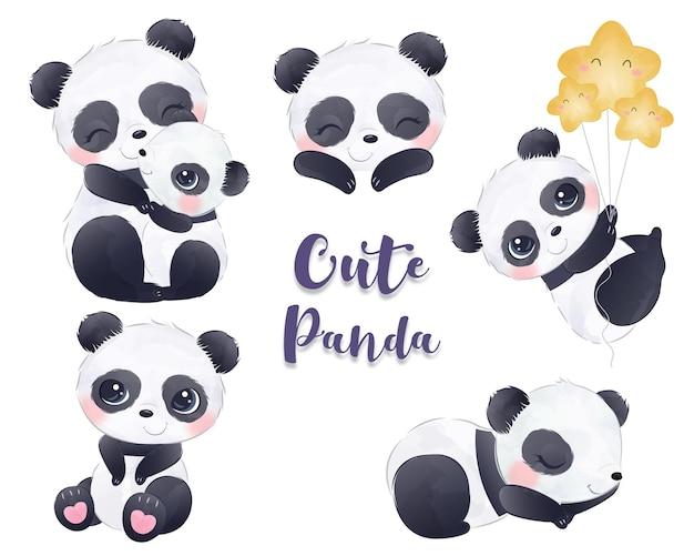 Ilustrações adoráveis da coleção de pandas em aquarela
