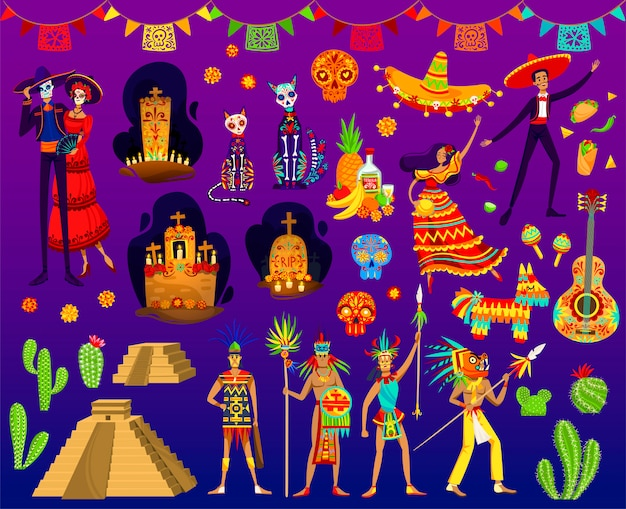Ilustrações astecas mexicanas, desenhos animados com ornamento folclórico tradicional ou elementos de festa do dia dos mortos do méxico