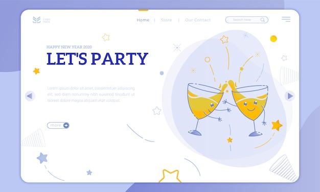 Ilustrações bonito copo de festa e vamos fazer uma festa de ano novo na página de destino