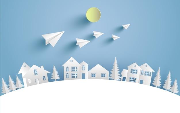 Ilustrações caseiras e belos aviões de papel de inverno. arte de design e artesanato