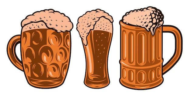 Ilustrações coloridas de diferentes copos de cerveja