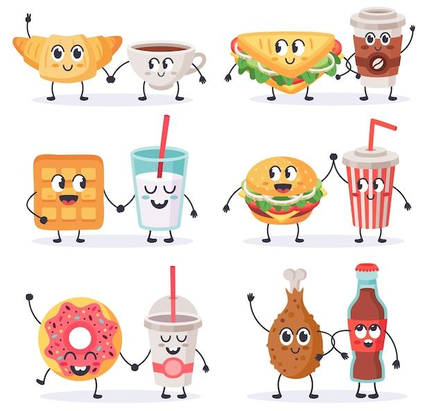 Ilustrações coloridas de fast food