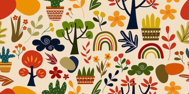 Ilustrações coloridas e modernas desenhadas à mão rabiscam coleção horizontal abstrata de flores e plantas em um padrão uniforme