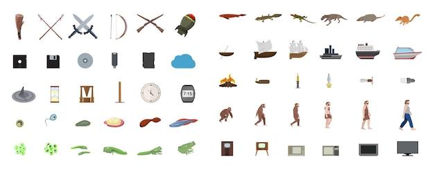 Ilustrações com estágios evolutivos. evoluções tecnológicas e biológicas.