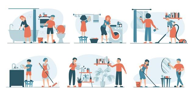Ilustrações com família fazendo trabalho doméstico