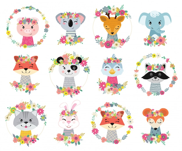 Ilustrações com flores e animais. ilustração para crianças.