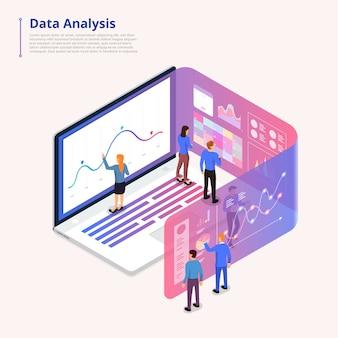 Ilustrações conceito dados analytics tool plataforma de computador.
