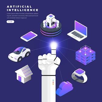 Ilustrações conceito mão de robô uso dedo clique linha gráfica tecnologia internet das coisas