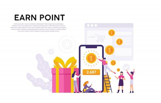 Ilustrações conceituais de consumidores ou usuários que recebem pontos e recompensas de provedores de serviços