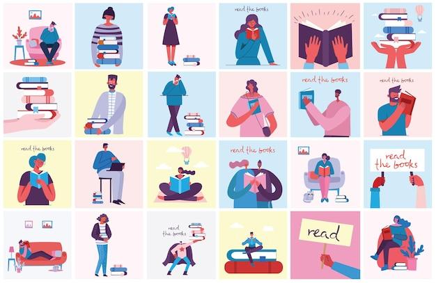 Ilustrações conceituais do dia mundial do livro,