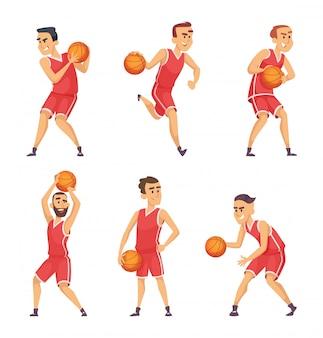 Ilustrações conjunto de jogadores de basquete