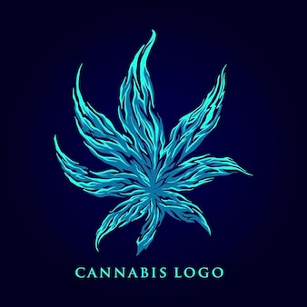 Ilustrações da marijuana leaf abstract logo company