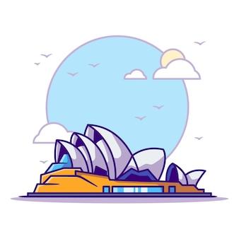 Ilustrações da ópera de sydney. branco do conceito dos marcos isolado. estilo flat cartoon