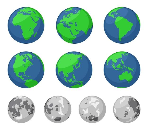 Ilustrações da terra e da lua