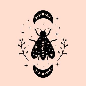 Ilustrações de abelhas celestiais e místicas com lua e estrelas